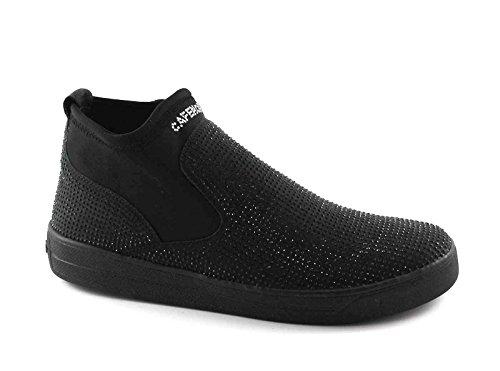 CAFè NOIR DB925 nero scarpe donna stivaletto tronchetto beatles elastico strass Nero