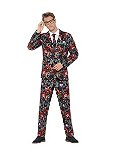 Smiffys 40337XL - Traje de payaso malvado para hombre, multicolor, talla XL, 116,8-121,9 cm