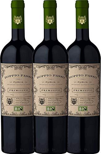3er Paket - Doppio Passo Bio Primitivo Puglia IGT 2018 - CVCB mit VINELLO.weinausgießer | halbtrockener Rotwein | italienischer Bio-Wein aus Apulien | 3 x 0,75 Liter