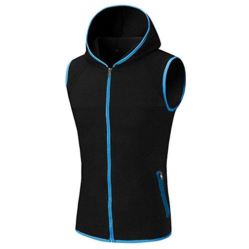 Amlaiworld Männer Ärmelloses Weste-Kapuzen-T-Shirt Top, cooles und buntes T-Shirt Kapuzen-Zipper-Kleidung (M, Blau)