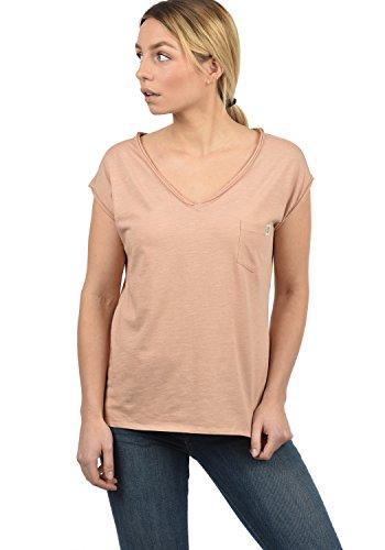 DESIRES Lynn Damen T-Shirt Kurzarm Shirt Mit V-Ausschnitt Und Brusttasche Aus 100% Baumwolle, Größe:L, Farbe:Mahog. Rose (4203) -