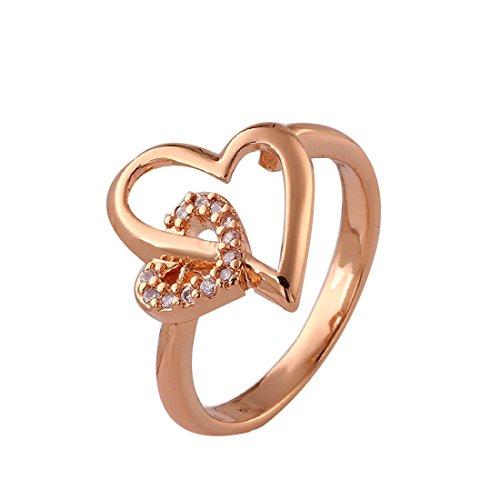 joyliveCY 2016la moda mujer elegante Attactive heart-like romántico chapado en oro rosa CZ anillo de par