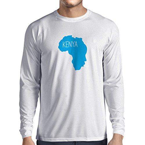 N4200L Speichern Kenia lustiges Geschenk, Langarm T-Shirt Weiß Blau