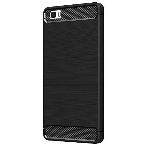Huawei P8 Lite Hülle, AICEK Schwarz Silikon Handyhülle für Huawei P8 Lite Schutzhülle (5 Zoll) Karbon Optik Soft Case
