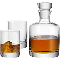 WMF Whiskeyglas Tumbler 0,25ml Whiskeykaraffe 0,75ml Kristallglas Whiskey-Set 3er Set spülmaschinengeeignet kratzbeständig bruchsicher klar transparent Whiskyflasche und Whiskybecher