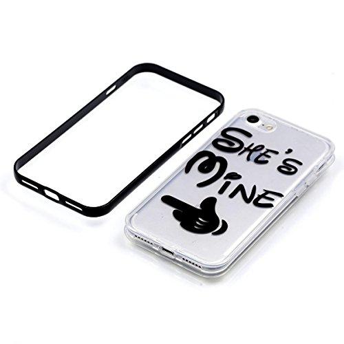 """MOONCASE iPhone 7 Coque, IMD Gel Souple TPU Case Fleur Motif Cover pour iPhone 7 4.7"""" Transparente Housse Antidérapant en Silicone Avec Absorption de Chocs [Butterflies Pattern] Fingers"""