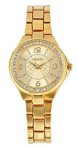Dovoda-1299- Uhren Edelstahl Damen Datum Kalender Uhr Beiläufig Geschäfts Analog Quarzwerk Wasserdichte Armbanduhr Klassisch Mode Kleid Damenuhren (Gold)