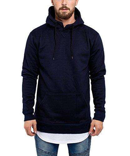 Phoenix Side Zip Hoodie Herren Langer Pullover Navy Blau - L