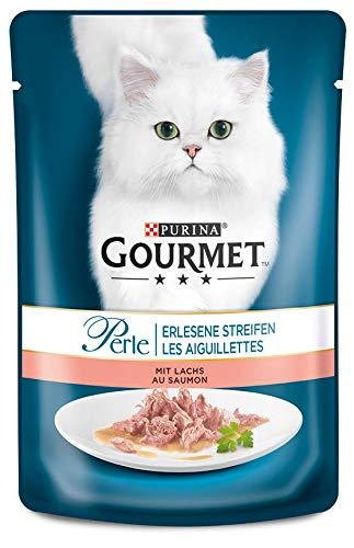 Purina GOURMET Perle: Katzennassfutter, hochwertiges Katzenfutter für ausgewachsene Katzen, 24er Pack (24 x 85 g Beutel) (Lachs Perlen)