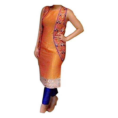 Generic Women's Banglory Silk Dress (ERRR100708_Orange_Free Size)
