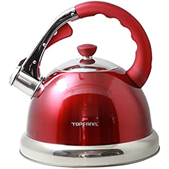 Riwendell 2.1 Quart Whistling Candy ColorTea Kettle Stainless Steel StoveTop Teapot GS-04001DFY-Green