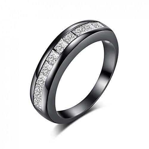 Unisex Schwarz Kupfer Ringe Damen Herren mit Weiße Rhombischen Zirkon Dekorativen Verlobungsringe Hochzeit Engagement Jahrestag Ring Zirkon Zwischenelemente Schmuck(9# Perimeter 59.8 mm / 2.35'')