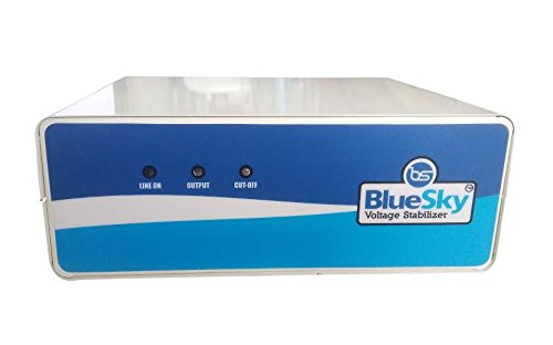 Bluesky 1 Kva Metal 800 W Voltage Stabilizer Instant Start For Tv , Lcd , Led With 1 3 Pin Outlet And 2 Nos 2 Pin Outlet