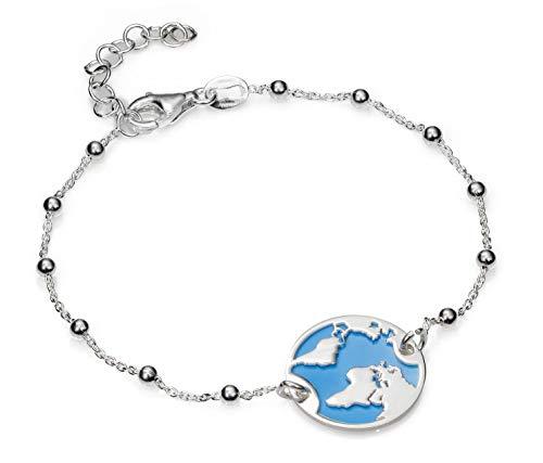 EMPATHY JEWELS Collar Mundo de Plata de Ley con Cadena de Plata 42 cm. Collar Plata Globo Terraqueo para Regalos Mujer. (Pulsera 3)