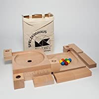 Ball course plate ball course S 12 cm x 24 cm x 33 cm rolling course marble course wooden toy Erzgebirge