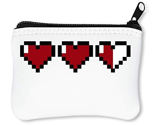 Pixel Fashioned 8 bit Hearts Dope Billetera con Cremallera Monedero Caratera