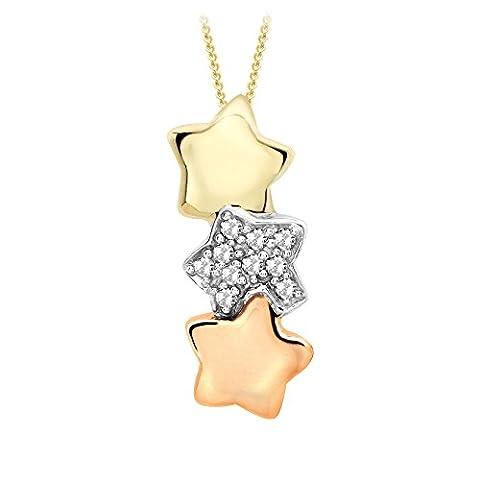 Carissima Gold 9 ct 3 Colour Gold 0.10 ct Diamond Triple Star Drop Pendant on Adjustable Chain Necklace of 46 cm/18