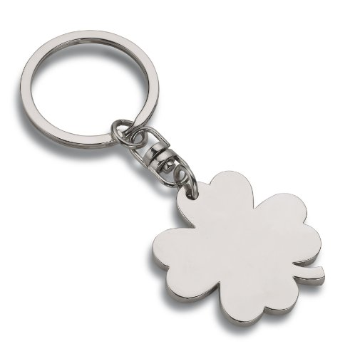 Wedo 2053409 Schlüsselanhänger Kleeblatt (aus Metall) silber (Glücksbringer Schlüsselanhänger)