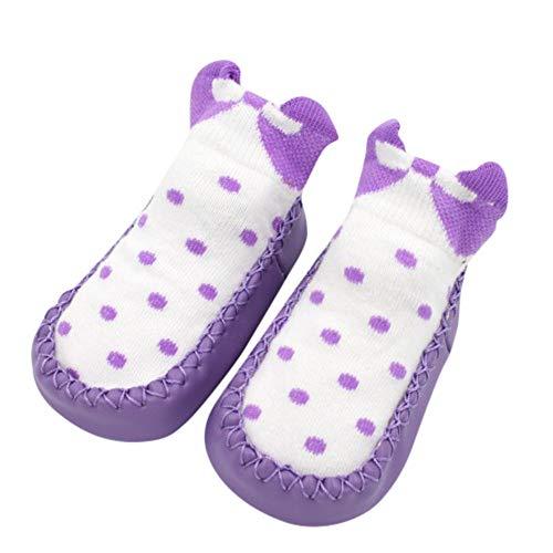Fuibo Boden Socken, Unisex-Baby Socken Hüttenschuh Neugeborenen Baby Mädchen Jungen Anti-Slip Socken Slipper Schuhe Stiefel (11(Alter: 0-6M), Lila)