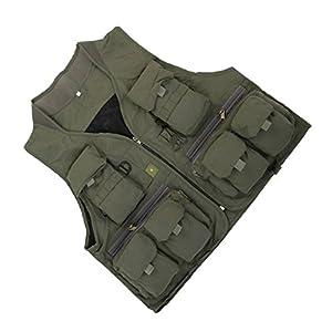 MagiDeal Multi Tasca Gilet Giacche per Esterna Fotografia Caccia Pesca - Verde militare, XXL