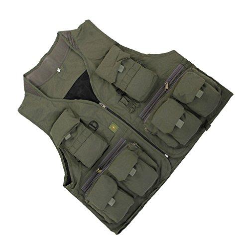 MagiDeal Multi Tasca Gilet Giacche per Esterna Fotografia Caccia Pesca - Verde Militare, L