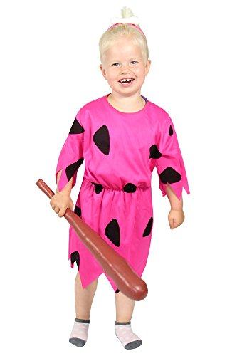 Foxxeo pinkes Steinzeit Mädchen Kostüm für Fasching und Karneval Paarkostüm Partnerkostüm Kinder Größe - Mädchen Pebbles Feuerstein Kostüm