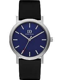 Diseño de danesa para hombre reloj infantil de cuarzo con esfera azul y correa de cuero negro DZ120442