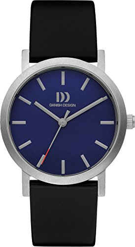 Danish Design Ladies Quartz Watch with Blue Dial Analogue Display and Black Leather Strap DZ120442