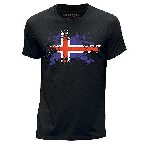 Fun Kleider Island (STUFF4 Herren/X groß (XL)/Schwarz/Rundhals T-Shirt/Island/Isländisch Flagge Splat)