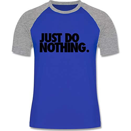Statement Shirts - Just do nothing. - zweifarbiges Baseballshirt für Männer Royalblau/Grau meliert