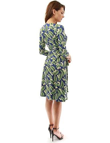 PattyBoutik Damen geometrisches faux wrap Sonnenkleid mit V-Ausschnitt dunkelblau und grün 21