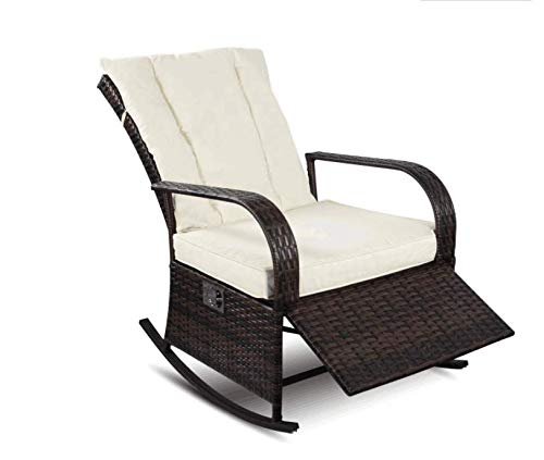 YOUKE Outdoor Wicker Schaukelstuhl, Outdoor Glider Patio Sessel Lounge Chair(Braun) -