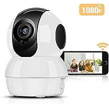 Cámara IP Wifi HD 1080P Inalámbrico P2P Hommie, Visión Nocturna, Audio de dos vías, Bebé Monitor, Cámara deVigilancia Seguridad Casera de 2.4 GHz para Monitor Niño, Anciano, Mascota, Compatible con iOS/Android(Blanco)