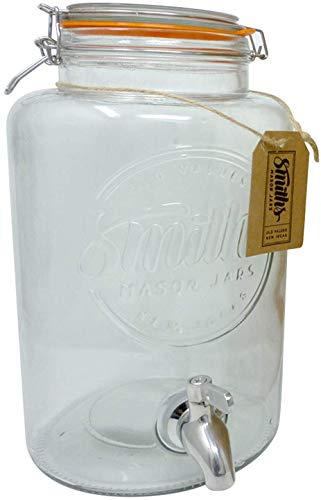 Smiths Mason Jars Dispensador de Bebidas de 5 litros con espita de Acero, sin Malla de Alambre y Etiqueta de Regalo. Es el Enfriador de Bebida definitiva.