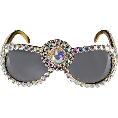 Amakando Prollige Sonnenbrille mit Pailletten Tussi / Gold-Perlmuttfarben / Ausgefallenes Frauen Kostüm-Accessoire Disco Chickse / Ideal zu Fasching & - Disco Diva Kostüm Frauen