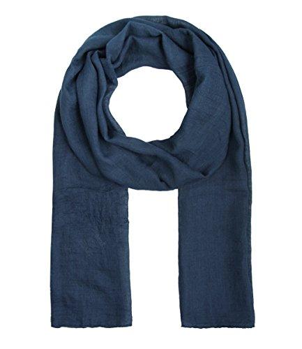 Majea Tuch Lima schmal geschnittenes Damen-Halstuch leicht uni einfarbig dünn unifarben Schal weich Sommerschal Übergangsschal (navy)