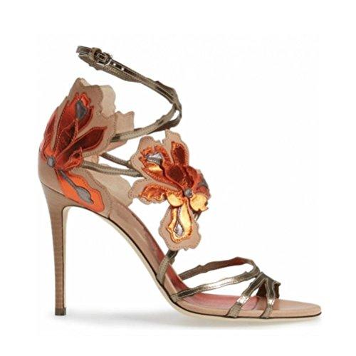 QPYC Cinghie da donna Fibbia fiori Sandali Scarpe a spillo Grandi dimensioni Banchetto Scarpe da donna personalizzate 41 42 43 pink