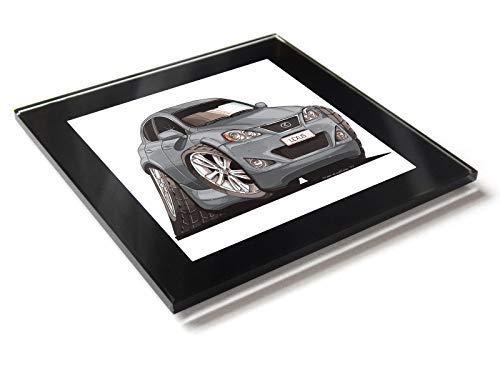 Koolart Cartoon Lexus IS250 - Posavasos de cristal con caja de regalo, plata, 10 cm x 10 cm