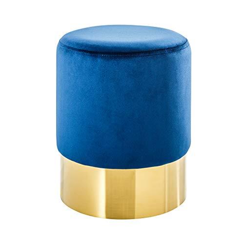 Riess Ambiente Eleganter Sitzhocker MODERN BAROCK SAMT blau Gold Couchtisch Fußhocker Hocker Samtstoff