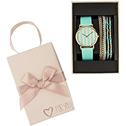 "SIX ""Gift"" jewellery set, green watch with 3 matching bracelets in green and gold in a cute ""for you"" gift box, present (388-283)"
