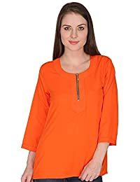 ef6f9ab3e6b indietoga Women Plus Size Crepe Boat Neck Solid Orange Front Zipper Long  Sleeves Casual Party wear