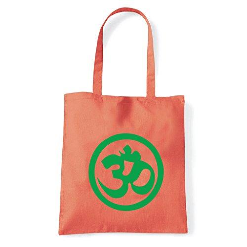 Art T-shirt, Borsa Shoulder Symbol Om Peace Corallo