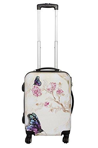 Koffer M Klein Schmetterling Butterfly Creme 55 cm Bord Gepäck Trolley Bowatex