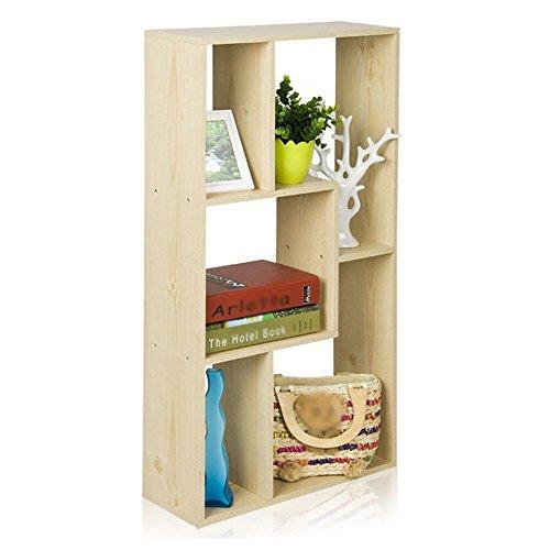 JHUEN Bücherregal mit 5 Fächern Hölzerner Langer Präsentationsständer Bücherraum kann Wandlagerregal Sein Weißes Ahorn Farbe Größe (L * B * H) 47,6 * 16,6 * 90 cm -