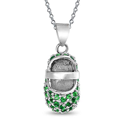 Personalisierte Zirkonia Grün Ebnen Cz Baby Schuh Anhänger Mit Halskette Für Mutter 925 Sterling Silber Custom Graviert -