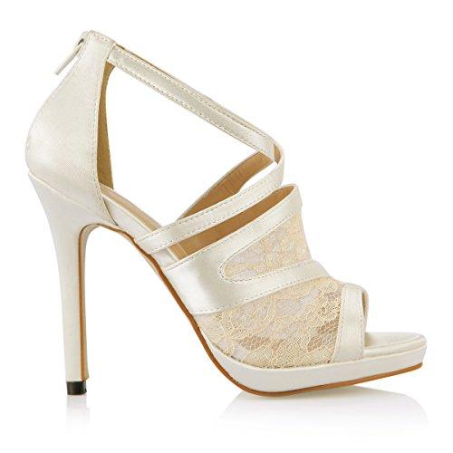 Neue Weibliche Sandalen Hochzeit fein high-heel Schuhe für größere milchig weiße Seide Fisch tipp Frauen Schuhe, creme Color Emulation Seide -