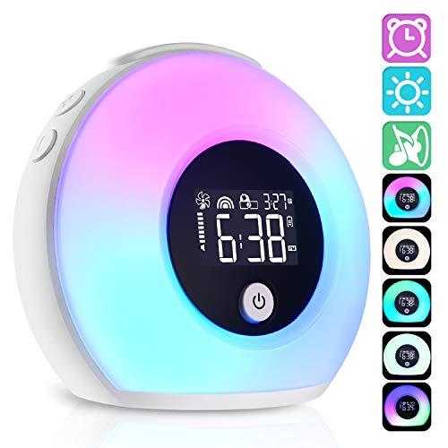 Wake Up Light, 3 in 1 Luce Sveglia Altoparlante Bluetooth LED Intelligente Lampada da Comodino, 5 Colori Luce Touch Dimmerabile Sveglia Ricaricabile USB
