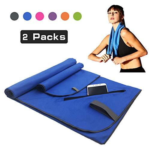 Sea free asciugamano microfibra set 2 pezzi | 80x160cm + 39x39cm teli mare in microfibra, asciugatura rapida leggeri asciugamani per palestra, piscine, viaggio, sport, campeggio con tasca (blu)