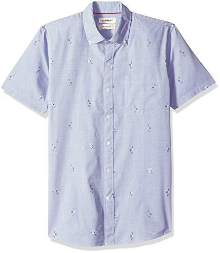 Goodthreads Herren Slim Fit-Hemd mit kurzen Ärmeln, Blau (Blue Storm Sto), X-Large (Van Heusen-hemd Slim Fit)