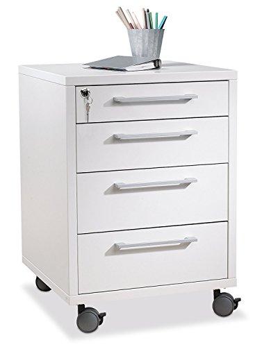 Container Rollcontainer Schubladenschrank BALKO 4 | Weiß | 4 Schubladen | Abschließbar